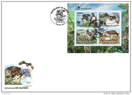 IMPERFORATED Guinea 2013 - WWF. Eagle. FDC - YT 6856-9, Mi 9865-8 - FDC