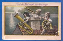 Fantaisie; Geburtstag; 1910 Sondermarke Herm. Walther Deuben Dresden; Kinderorchester - Geburtstag