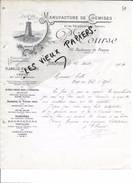 90 - Territoire-de-belfort - BELFORT - Facture COURSE - Manufacture De Chemises Et Vêtements De Travail - 1904 - REF 64B - France