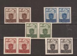 1942 Escudo Ayuntamiento Barcelona Edifil 55s/59s** VC 136,00€ Parejas LUJO!! - Barcelona