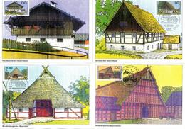 """BRD 5 Maximumkarten """"Wohlfahrt: Bauernhäuser In Deutschland"""" Mi 1819/23 ESSt 12.10.1995 BONN 1/BERLIN 12 - BRD"""