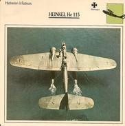 Fiches Illustrées - Caractéristiques Avions - Hydravion à Floteurs - HEINKEL He 115 - Allemagne - (04) - - Aviation