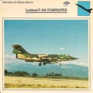 Fiches Illustrées - Caractéristiques Avions - Intercepteur De Défense - LOCKHEED F-104 STARFIGHTER - U.S.A. - (10) - - Aviation