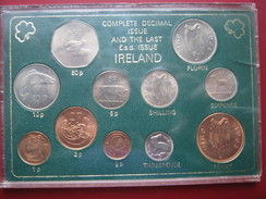 Ireland 1960-s 1970-s Complete Decimal & The Last LSD Issue UNC 11 Coin Set Cased - Irlande
