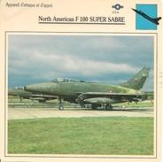 Fiches Illustrées - Caractéristiques Avions - Appareil D'attaque - North American F 100 SUPER SABRE - U.S.A. - (11) - - Aviation