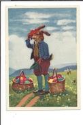 16498 -  Grand Lapin Avec Paniers D'oeufs - Pâques