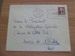 Lettre Constantine 10 Inversé 10/11/1962 à Blida N°1263a Surcharge Manuelle EA Flamme Qualité France Produit Algérie TB - Lettres & Documents