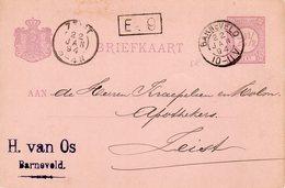 1894 Bk Met   Firmastempel   Van BARNEVELD (kleinrond) Naar Zeist - Marcophilie