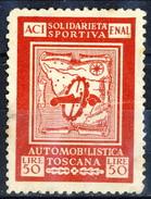 Erinnofili, Italia 1950, Aci-Enal Solidarietà Sportiva Automobilistica Toscana Lire 50 / Rosso - Italia