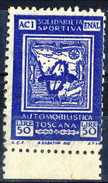 Erinnofili, Italia 1950, Aci-Enal Solidarietà Sportiva Automobilistica Toscana Lire 50 / Blu - Italia