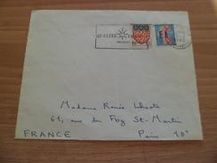 Devant De Lettre Constantine 7/8/1962 à Paris N°1233 Surcharge Manuelle EA  Et Le N° 1352 SANS SURCHARGE  Plus Flamme TB - Lettres & Documents