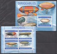 T123 2010 REPUBLIQUE TOGOLAISE AVIATION DIRIGEABLES KB+BL MNH - Zeppelins