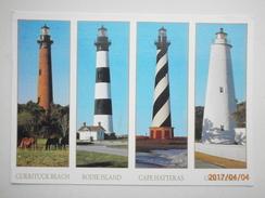 Postcard Lighthouse USA Currituck Beach Bode Island Cape Hatteras Ocracoke Light PU 2001  My Ref B2879 - Lighthouses