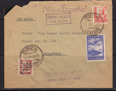 España 1937. Canarias. Carta De Tenerife A Valladolid. Censura. - Marcas De Censura Nacional