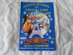 Festival Mondial Du Cirque A Paris Sous Chapiteau Pinder Programme  2001 - Vecchi Documenti