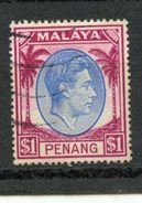 Malaya Penang  1949 $1.00 King George Issue #20  Used - Penang