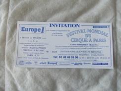 Festival Mondial Du Cirque A Paris Sous Chapiteau Pinder Invitation 10 Janvier 2001 - Tickets - Vouchers