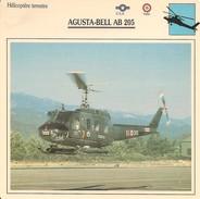 Fiches Illustrées - Caractéristiques Avions - Hélicoptère Terrestre - AGUSTA-BELL AB 205 - U.S.A. - ITALIE - (19)  - - Aviation