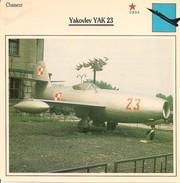 Fiches Illustrées - Caractéristiques Avions - CHASSEUR - YAKOVLEV YAK 23 - U.R.S.S. - (22)  - - Aviation