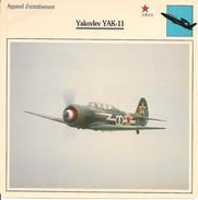 Fiches Illustrées - Caractéristiques Avions - Appareil D'entraînement - YAKOVLEV YAK-11 - U.R.S.S. - (24)  - - Aviation