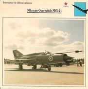 Fiches Illustrées - Caractéristiques Avions - Intercepteur De Défense - Mikoyan-Gourevitch MiG-21 - U.R.S.S. - (26)  - - Aviation