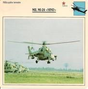 """Fiches Illustrées - Caractéristiques Avions - Hélicoptère Terrestre - MIL MI-24 """"HIND"""" - U.R.S.S. - (27)  - - Aviation"""