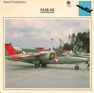 Fiches Illustrées - Caractéristiques Avions - Appareil D'entraînement - SAAB-105 - SUEDE. - (29)  - - Aviation