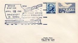USA - RAIL -  DAVENPORT - FIRST BRIDGE ACROSS MISSISSIPPI - DAVENPORT-ROCK ISLAND - Ponti