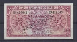 5 Frank - Francs = 1 Belga  - Type Londen  M 13  Quasi Nieuw -  Presque Neuf - Met Opdruk SPECIMEN - [ 8] Fictifs & Specimens