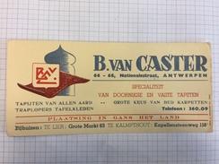 17K/4 - B Van Caster Specialisteit Van Dornikse En Vaste Tapijten Kalmpthout Antwerpen - Buvards, Protège-cahiers Illustrés