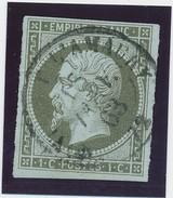 1c Olive Obl Càd Signé Calves TB. - 1853-1860 Napoléon III.