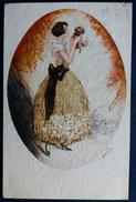 CPA Illustration J Hardy Art Nouveau Femme Et Son Petit Chien 1928 - Autres Illustrateurs