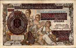 SERBIE 1000 DINARA Du 1-5-1941  Pick 24  XF/SUP - Serbie