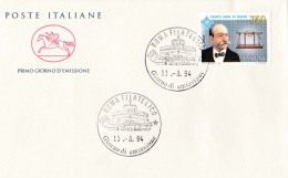 1994 ITALIA - 03 CENTANNI DI RADIO - FDC CAVALLINO - ANNULLO ROMA FILATELICO - 6. 1946-.. Repubblica