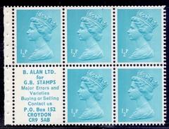 Great Britain  1972 SG X841m (DP3) 1/2 P X 5 Alan Label Good Perf. - Machins