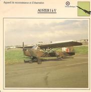 Fiches Illustrées - Caractéristiques Avions - Appareil De Reconnaissance - AUSTER I à V - Grande Bretagne - (40) - Aviation