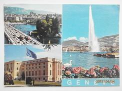 Postcard Geneva UN Building & Special United Nations Stamp 1951 / 1976 25 Years Slogan Cancel My Ref B2891 - GE Geneva