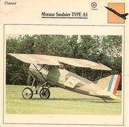 Fiches Illustrées - Caractéristiques Avions - Chasseur - Morane Saulnier TYPE A1 - FRANCE - (46) - Aviation