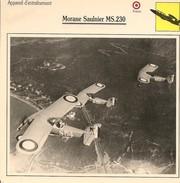 Fiches Illustrées - Caractéristiques Avions - Appareil D'entraînement - Morane Saulnier MS.230 - FRANCE - (47) - Aviation