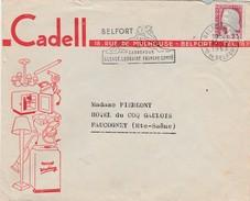 Enveloppe Commerciale /  CADELL / Electromenager Belfort / 90 / Flamme Du Lion De Belfort - Kaarten