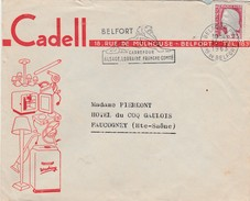Enveloppe Commerciale /  CADELL / Electromenager Belfort / 90 / Flamme Du Lion De Belfort - Maps