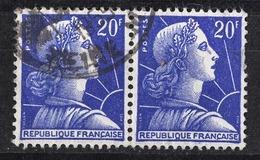 FRANCE 1955 - PAIRE - Y.T. N° 1011B  - OBLITERES / FF253 - Francia