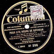 78 T - 25 Cm.- état TB - Jean SORBIER - POUR UNE HEURE DE BONHEUR - LA DOUCEUR D'AIMER - 78 Rpm - Schellackplatten