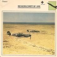 Fiches Illustrées - Caractéristiques Avions - Chasseur - MESSERSCHMITT BF 109E- Allemagne - (58) - Aviation
