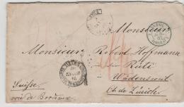 Bra152 / BRASILIEN -  Rio De Janeiro 1862, In Die Schweiz ( Wädensweil) Via Bordeaux Mit Briefinhalt - Lettres & Documents
