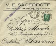 """Busta Pubblicitaria """"V. E. Sacerdote"""" Genova - Pubblicitari"""