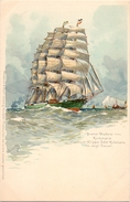 Schip Boot Bateau - Viermast Klipper - Peter Rickmers - Bremer Rhederei  - Druk Meissner & Buch Leipzig - Segelboote