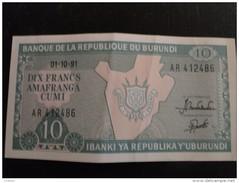 Burundi : Billet De 10 Franc 1991 - Burundi