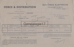 87 1272 LIMOGES HAUTE VIENNE 1931 FORCE ET DISTRIBUTION Bd Des Petits Carmes - Au Dos PUBLICITE FER A REPASSER - Electricité & Gaz