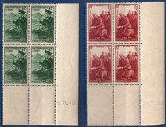 2 Blocs De 4 Coins Datés 5 Et 28.11.40 Pour Nos Prisonniers De Guerre Neufs Sans Charnière - 1940-1949